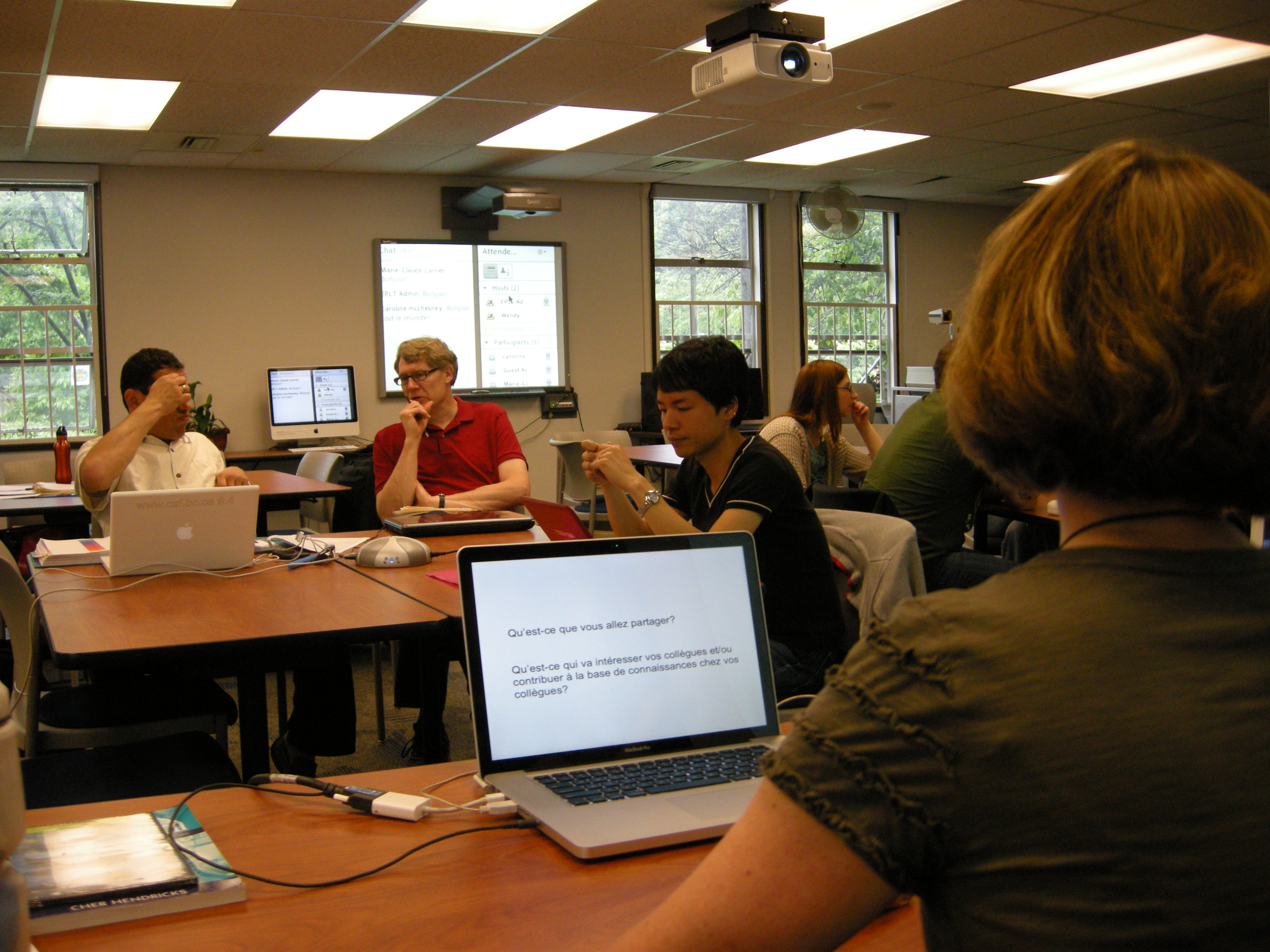 A hybrid session with students participating online and in person