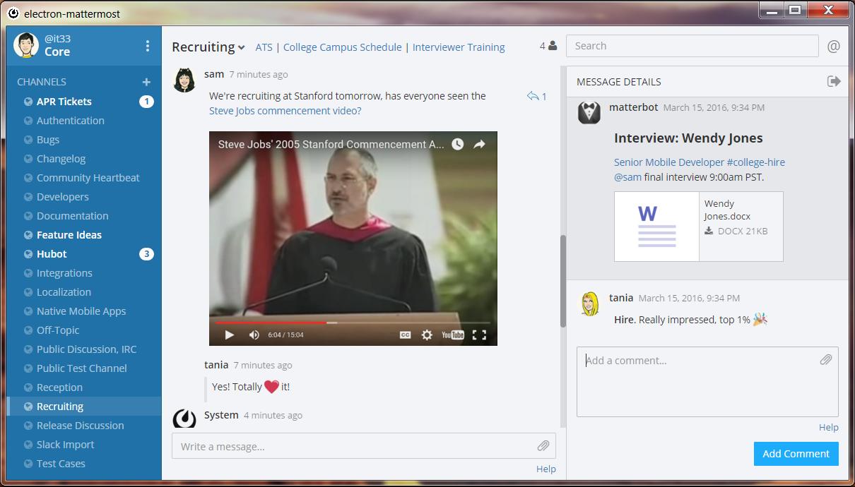 Screenshot of Mattermost chat interface