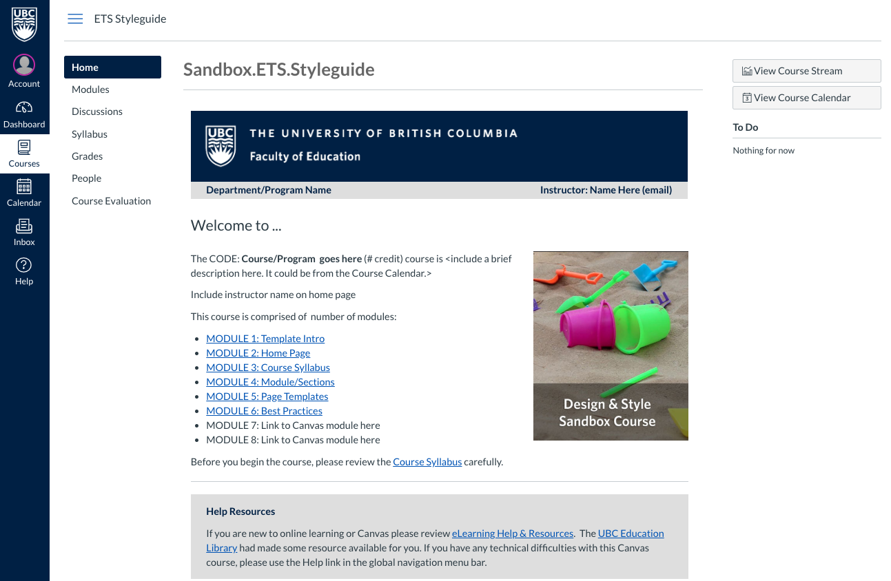 Canvas Template for Faculty of Education | Educational